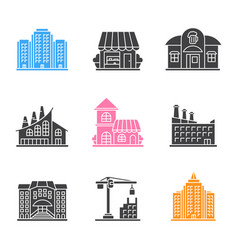 city buildings glyph icons set vector image