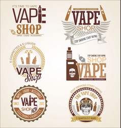 collection vape shop labels retro vintage vector image