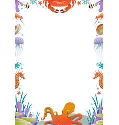 colorful cartoon sea fauna template vector image