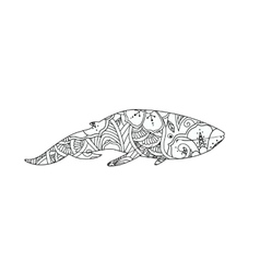 Coloring page with ornamental whale isolated on vector
