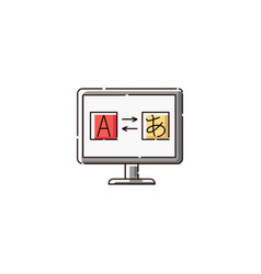 computer monitor with translation app icon vector image