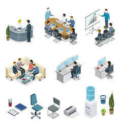 corporate office life isometric 3d set vector image