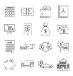 Credit icons set outline style vector image