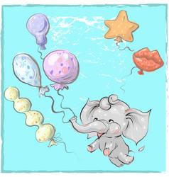 Cute elephant with balloon hand drawn vector