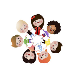 Cute happy different nation kids dance in round vector