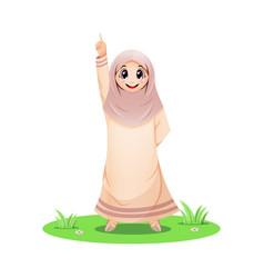 Cute muslim girl pointing up vector