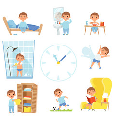 Daily routine kids making various cases in all vector