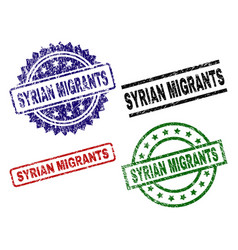 Damaged textured syrian migrants seal stamps vector