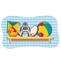 different toys on wooden shelf vector image
