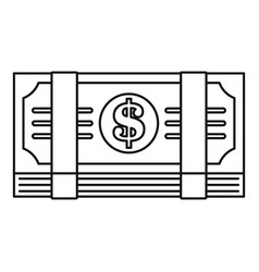 dollar pack icon outline style vector image