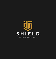 ds letter shield icon vector image
