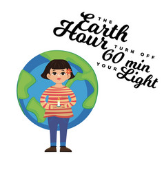 Earth hour coccept save planet 60 minut or one vector