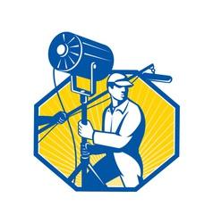 Electrical Lighting Technician Crew Spotlight vector