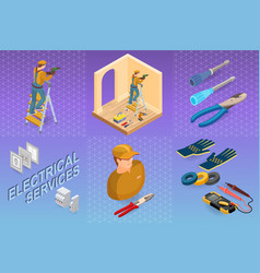 Electrical services isometric concept worker vector