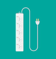 Extension lead on isolated green background flat vector