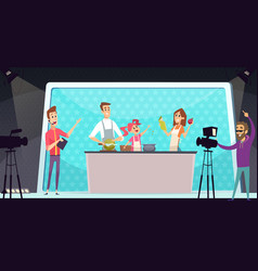 family cooking show tv entertainment parents and vector image