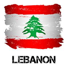 Flag of lebanon from brush strokes vector