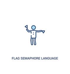 Flag semaphore language concept 2 colored icon vector