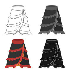 Flamenco skirt icon in cartoon style isolated on vector