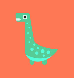 Flat icon on background cartoon dinosaur vector