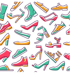 footwear seamless pattern shoes background white vector image