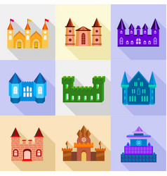 fortress and bastion icons set flat style vector image