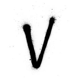 Graffiti thin v font sprayed in black over white vector