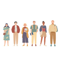 Group students young people in casual clothes vector