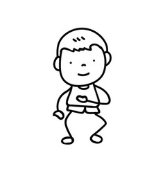 Hand drawing abstract happy cute boys line art vector
