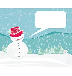 Happy snowman on winter landscape card vector image