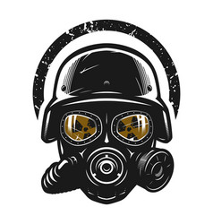 Helmet and gas mask radiation protection vector