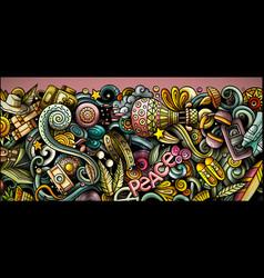 Hippie hand drawn doodle banner cartoon detailed vector