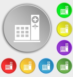 Hospital icon sign Symbol on eight flat buttons vector image