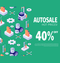 isometric banner for autosale special discount vector image