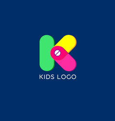 K monogram kids emblem logo vector