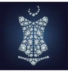 Lady s sexy corset made from diamonds vector image