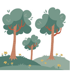 landscape with tall trees on green grass woth vector image