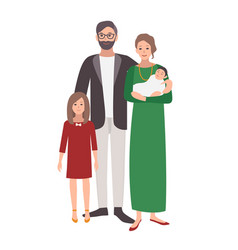 Large european or caucasian family father mother vector