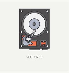 Line flat color computer part icon data vector