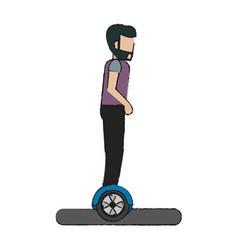 man over hoverboard design vector image
