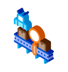 Manufacturing defect search isometric icon vector