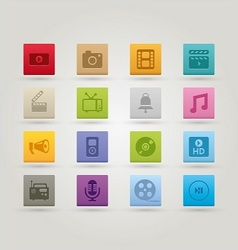Media icons 3 vector image