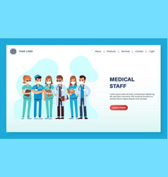 medical staff landing page male and female vector image