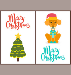 merry christmas dog and tree vector image