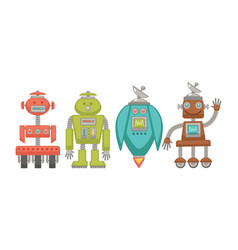 metal robots with powerful satellite and on wheels vector image