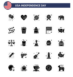 Modern set 25 solid glyph and symbols on usa vector