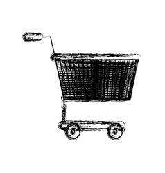 Monochrome blurred silhouette of shopping cart vector