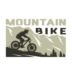 mountain bike silhouette a cyclist on a vector image