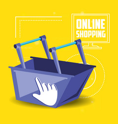 On line shopping with basket add vector