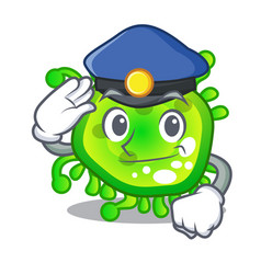 Police character microbe bacterium on the palm vector